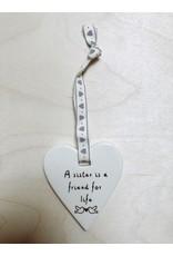 Sent and Meant Hanger Hartje - Sister - Porselein - 7,5 x 7 cm