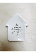 Sent and Meant Bordje Huisje -  A house is built - Porselein - 5 x 7 cm