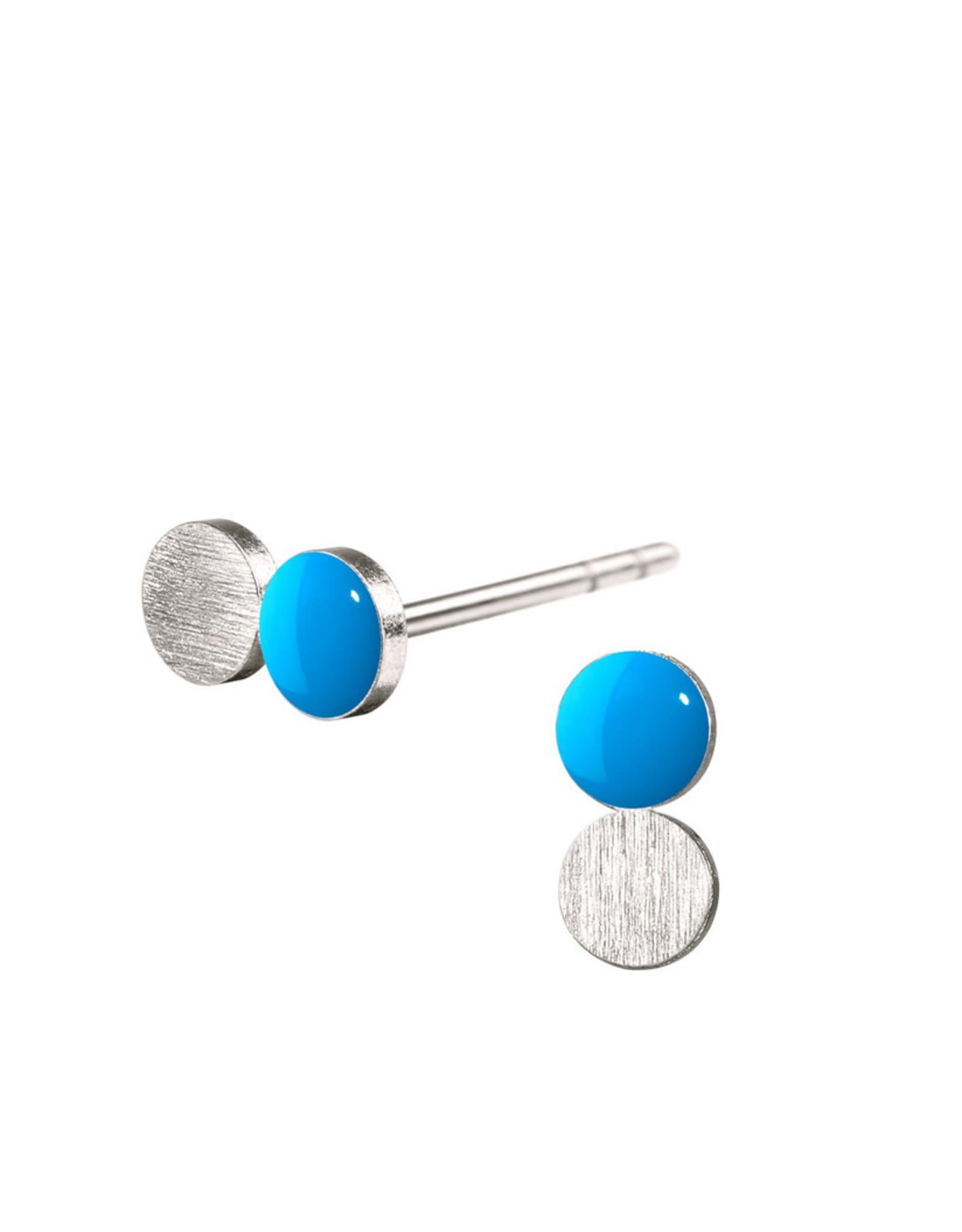 scherning oorstud dubbele schijf cyaan/zilver 4mm