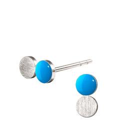 scherning Oorstud SPOT Dotty - Emaille lak schijfje : Cyaan - Ø 4mm - Zilver