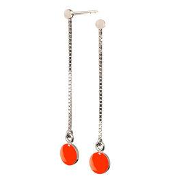 scherning Oorstud met ketting SPOT - Emaille lak schijfje : Neon oranje - Lengte 40mm, Ø 6cm - Zilver