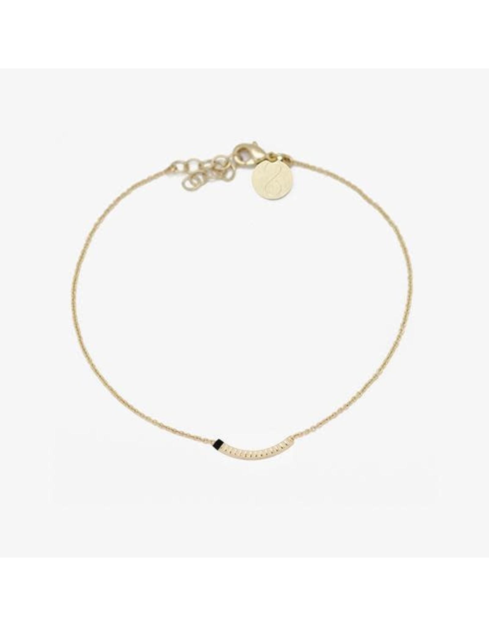 Judith Benita Armband Tadao Simple - Zwart - Messing Verguld - Lengte 15,5cm