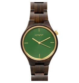 Hot&Tot Houten Horloge | 40mm | Goud| Sandelhout