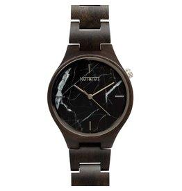 Hot&Tot Houten Horloge | 40mm | Zwart marmer| Sandelhout
