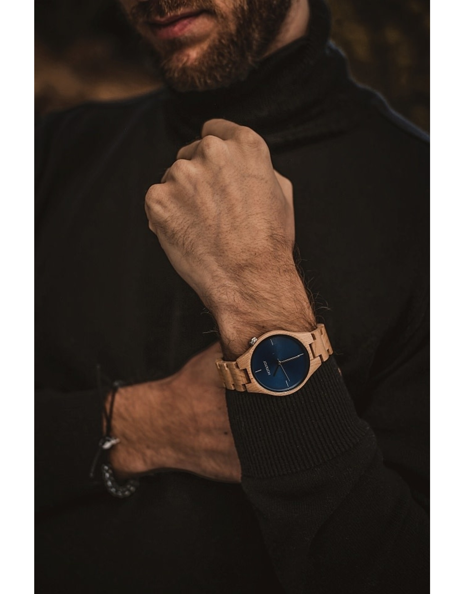 Hot&Tot Houten Horloge | 40mm | Zilver| Esdoornhout