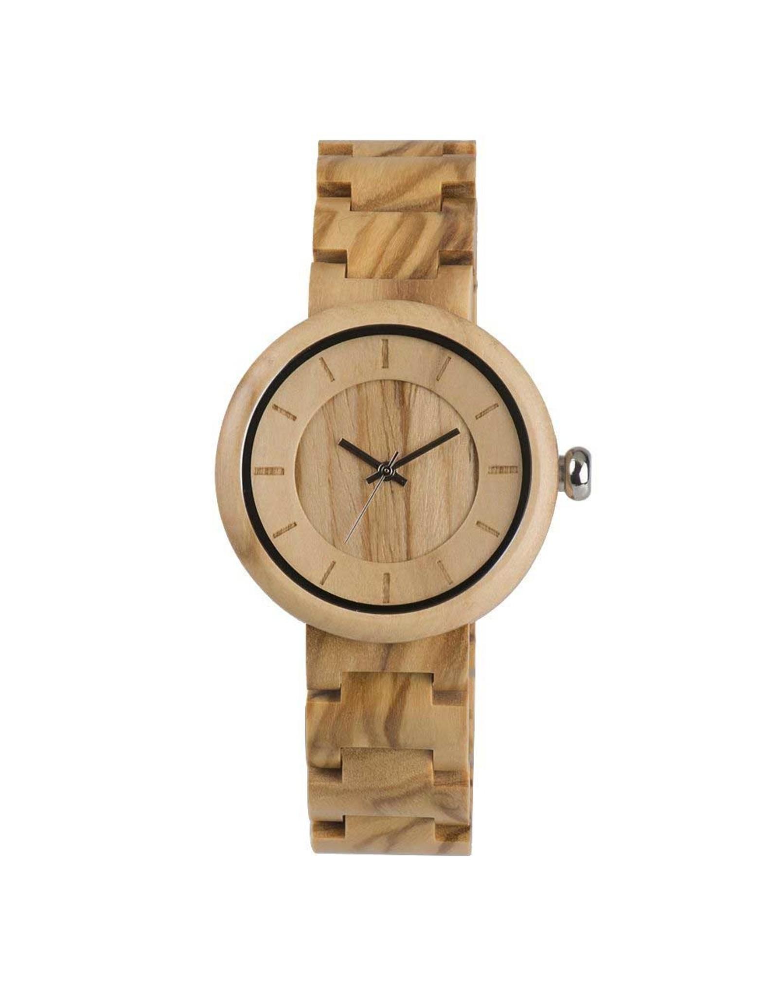 Hot&Tot Houten Horloge | 37mm| Olijfhout