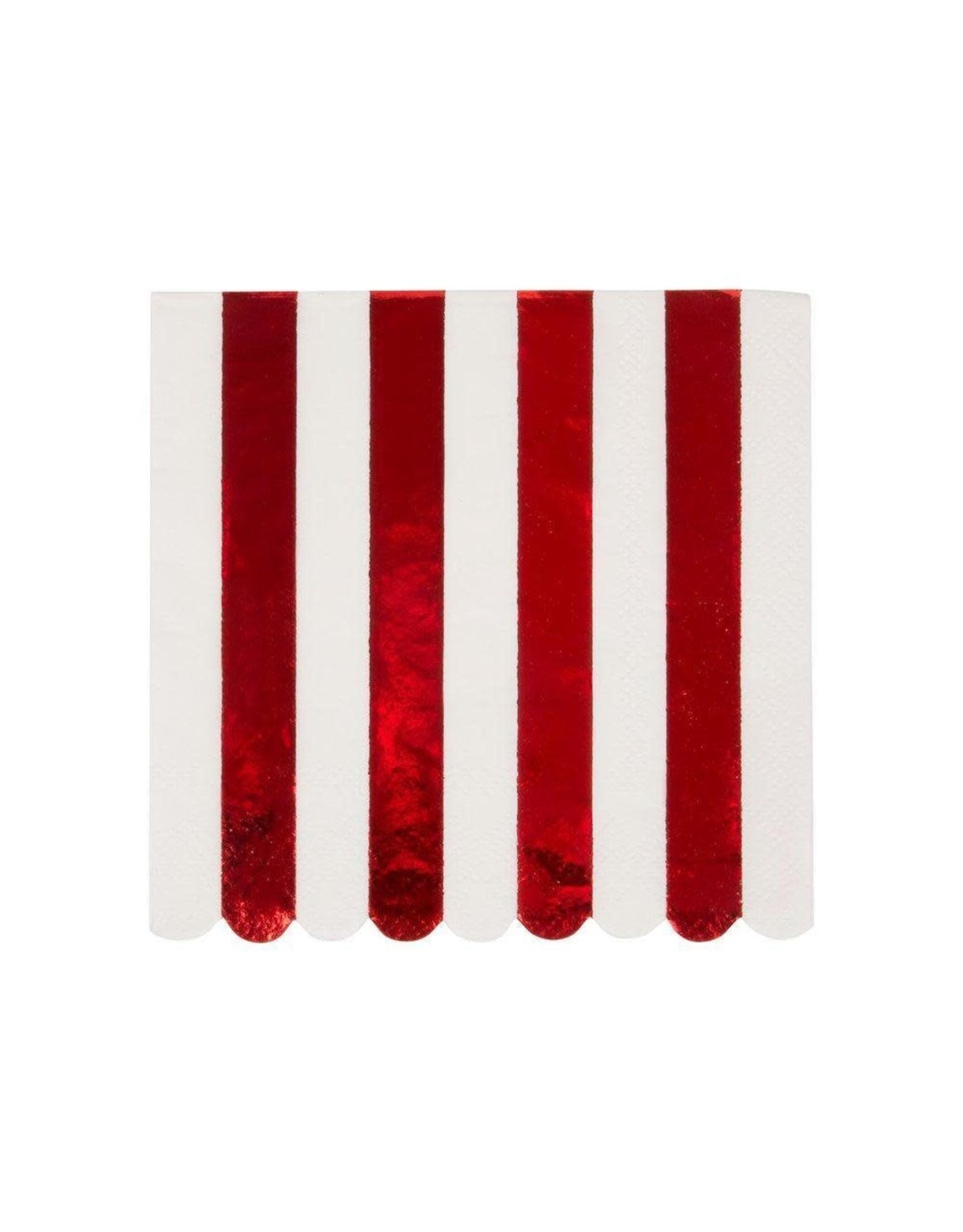 Meri Meri Serviettes | Zuurstok rood | 16st | 13 x 13cm