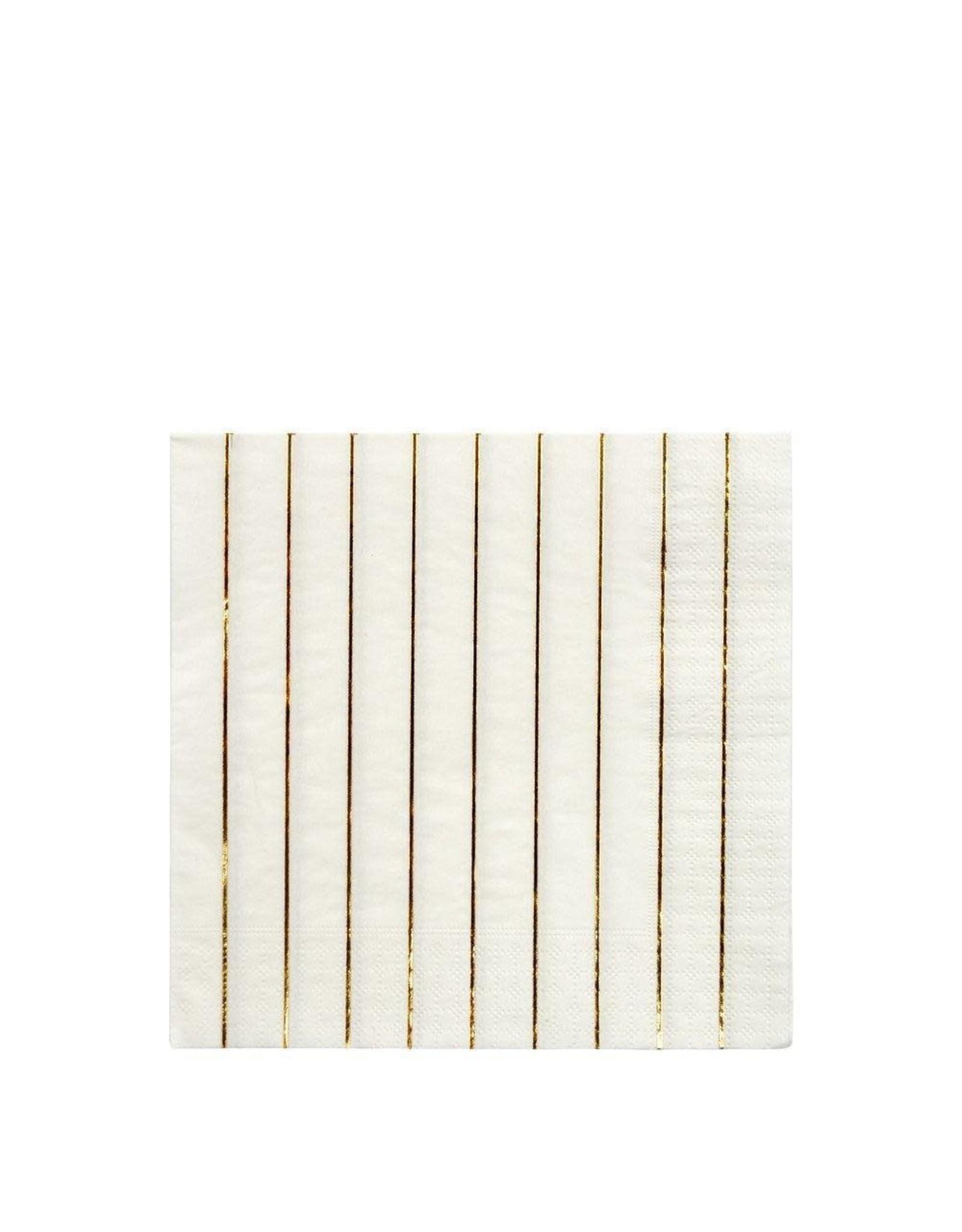 Meri Meri Serviettes | Gouden strepen | 16st | 13 x 13cm