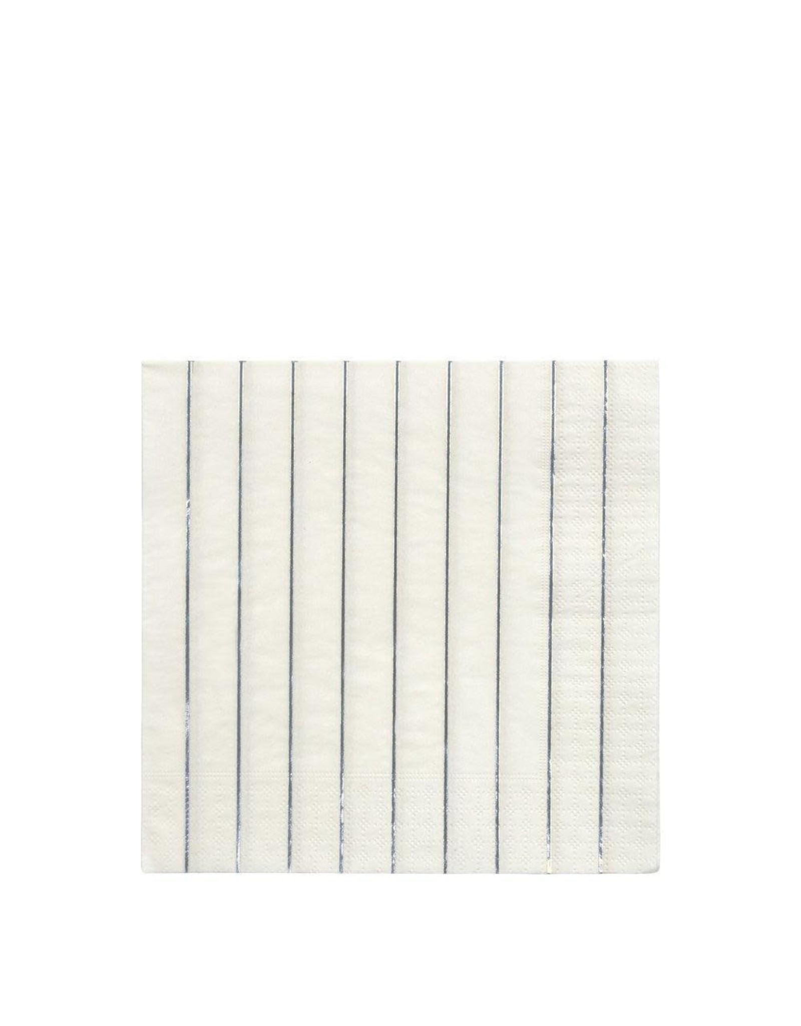 Meri Meri Serviettes | Zilver strepen | 16st | 10 x 10cm