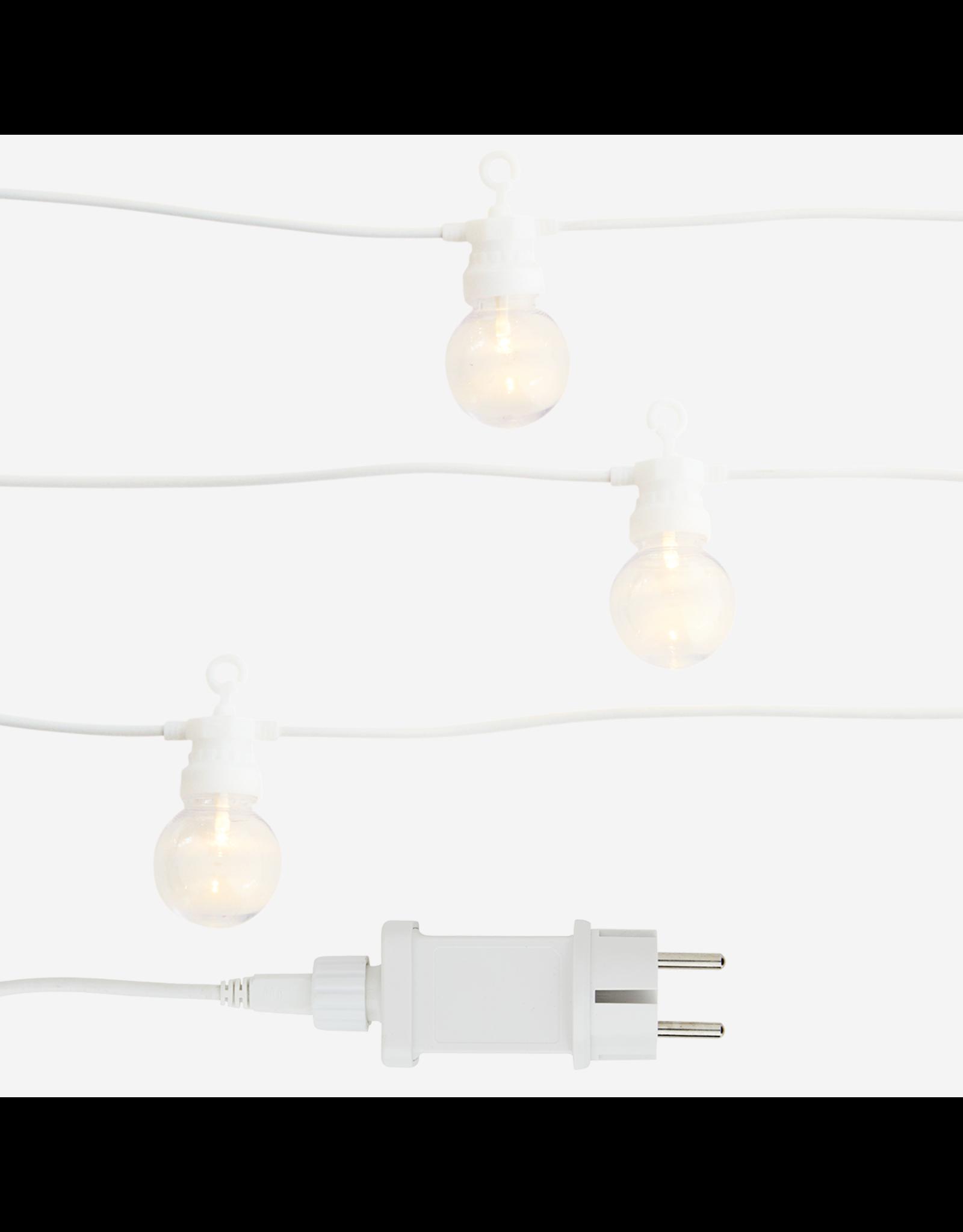 Madam Stolz 10 Bollen LED - 8,50m - 2 ronde pinnen - Witte draad
