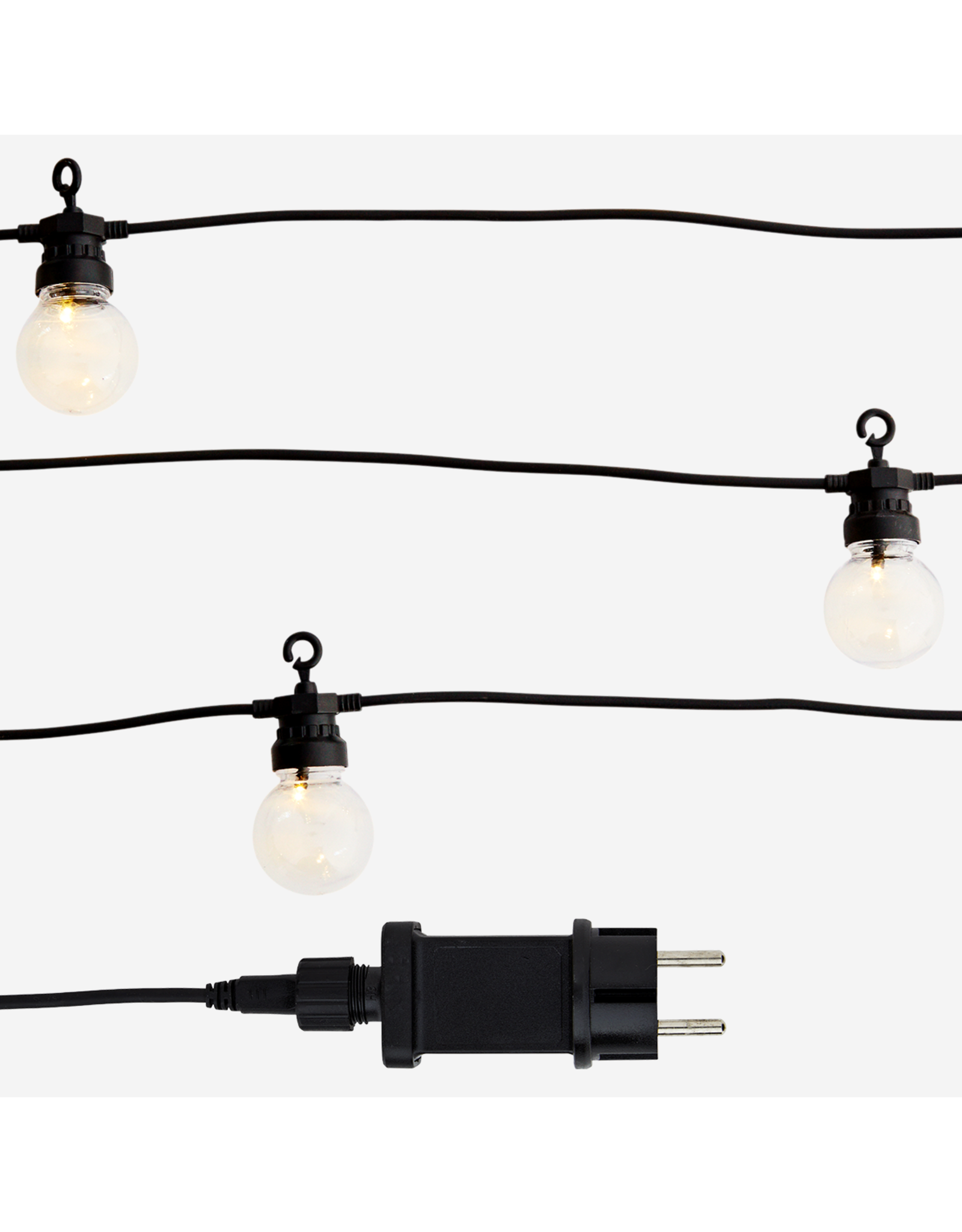 Madam Stolz 10 Bulbs LED | 8.5m | 2 round pins | Black wire
