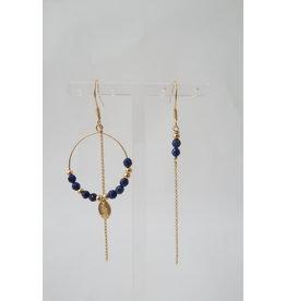 Murielle Perotti oorbel MP 1creool blauw asym goud