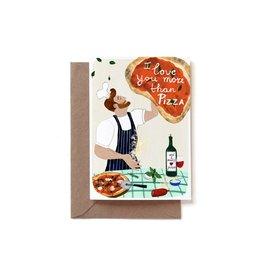 Reddish Design Wenskaart - I love you more than pizza - Dubbele kaart + Envelope - 10 x 15cm