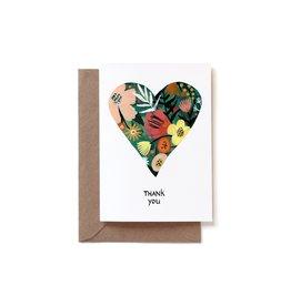 Reddish Design Wenskaart - Thank You Heart - Dubbele kaart + Envelope - 10 x 15cm