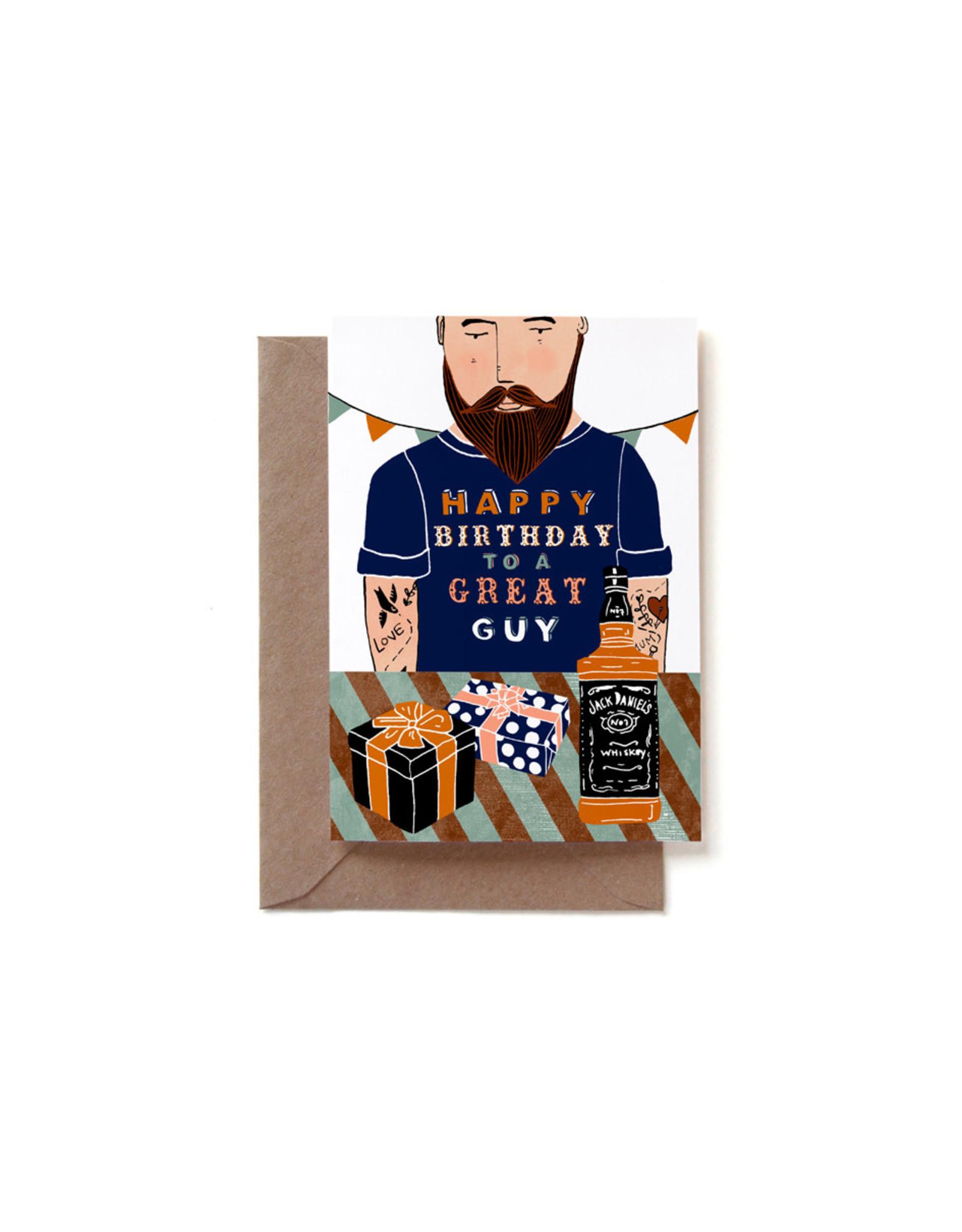 Reddish Design Wenskaart - Great Guy Birthday - Dubbele kaart + Envelope - 10 x 15cm