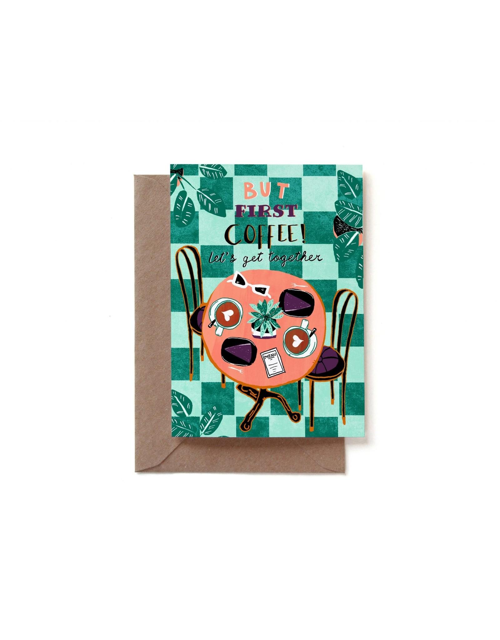 Reddish Design Wenskaart - Friends & Coffee - Dubbele kaart + Envelope - 10 x 15cm