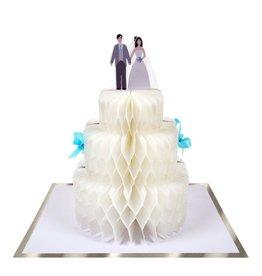 Meri Meri Wenskaart - Wedding Cake - Honeycomb + Envelop - 13,5 x 18,5 - Congratulations