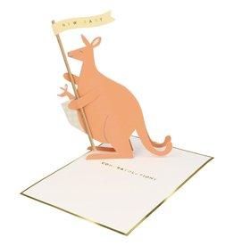 Meri Meri Wenskaart - Baby Kangaroo - Stand Up + Envelop - 13,5 x 18,5 - Congratulations