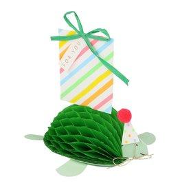 Meri Meri Wenskaart - Tortoise - 3D Honeycomb + envelop - 13,5 x 18,5 - Happy Birthday
