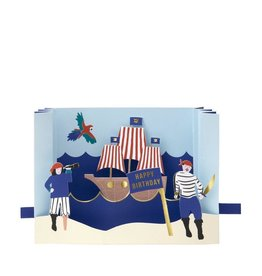 Meri Meri Wenskaart - Pirate - Diorama + Envelop - 13,5 x 18,5 - Happy Birthday