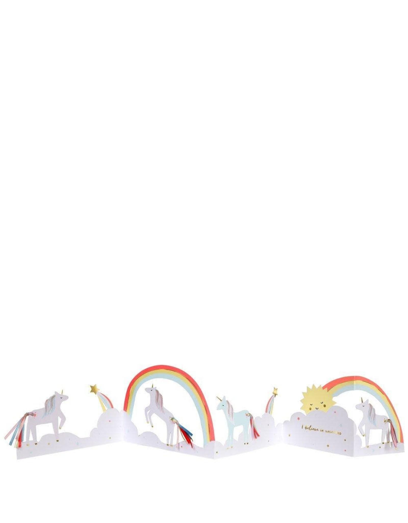 Meri Meri Wenskaart - Unicorn - Concertina + envelop - 13,5 x 18,5 - Happy Birthday