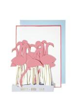 Meri Meri Wenskaart - Flamingo - Concertina + Envelop - 13,5 x 18,5 - Happy Birthday