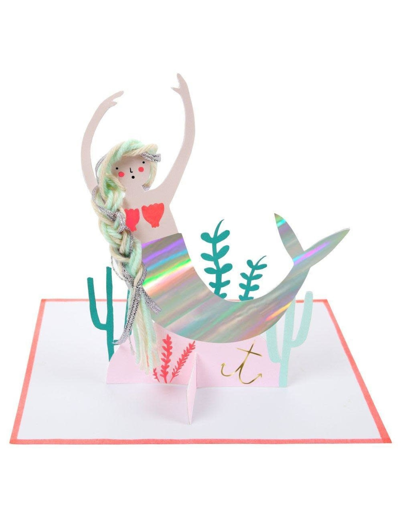 Meri Meri Wenskaart - Mermaid - Stand up + envelop - 13,5 x 18,5 - Blank inside