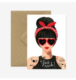 ATWS Wenskaart - You Rock! - Dubbele kaart + Envelop - 11,5 x 16,5 - Blanco