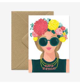 ATWS Wenskaart - Hippie Birthday - Dubbele kaart + Envelop - 11,5 x 16,5 - Blanco