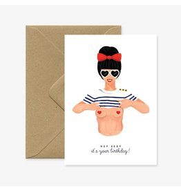 ATWS Wenskaart - Hey Sexy! It's your Birthday! - Dubbele kaart + Envelop - 11,5 x 16,5 - Blanco
