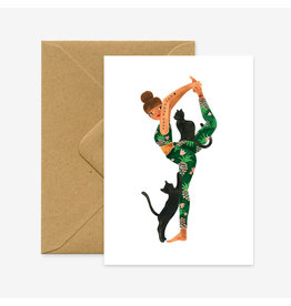 ATWS Wenskaart - Yoga Forever - Dubbele kaart + Envelop - 11,5 x 16,5 - Blanco