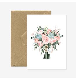 ATWS Wenskaart - Bouquet With Love - Dubbele kaart + Envelop - 11,5 x 16,5 - Blanco