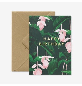 ATWS Wenskaart - Happy Birthday Medinilla - Dubbele kaart + Envelop - 11,5 x 16,5 - Blanco