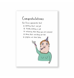 Eat Mielies Wenskaart - Congrats tick box - Dubbele Kaart + Envelop - 11,5 x 16,5 - Blanco
