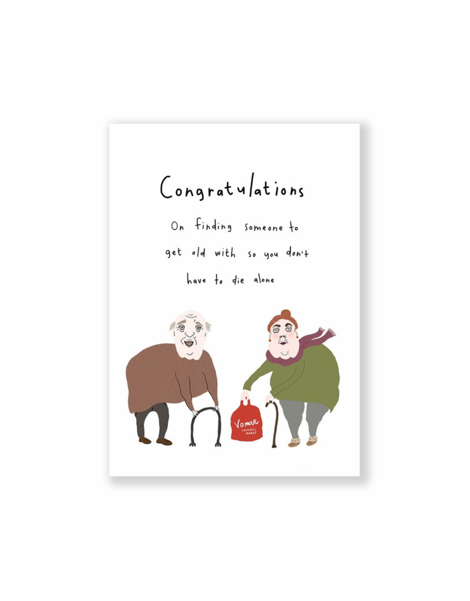 Eat Mielies Wenskaart - Wedding Congratulations  - Dubbele Kaart + Envelop - 11,5 x 16,5 - Blanco