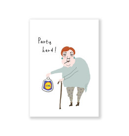 Eat Mielies Wenskaart - Party Hard!  - Dubbele Kaart + Envelop - 11,5 x 16,5 - Blanco