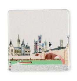 Storytiles Mini Tegel / Magneet -  Good old Ghent - 5 x 5 cm