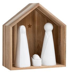 Raeder Kerststal - Hout -  Witte Figuren - Large