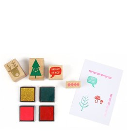 Meri Meri Stamp set - 10 stamps, 4colored ink pads