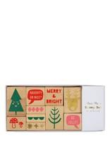Meri Meri Stamp set - 10 stamps, 4colored ink pads