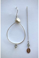 Murielle Perotti oorbel MP 1druppel asym grijs/zilver