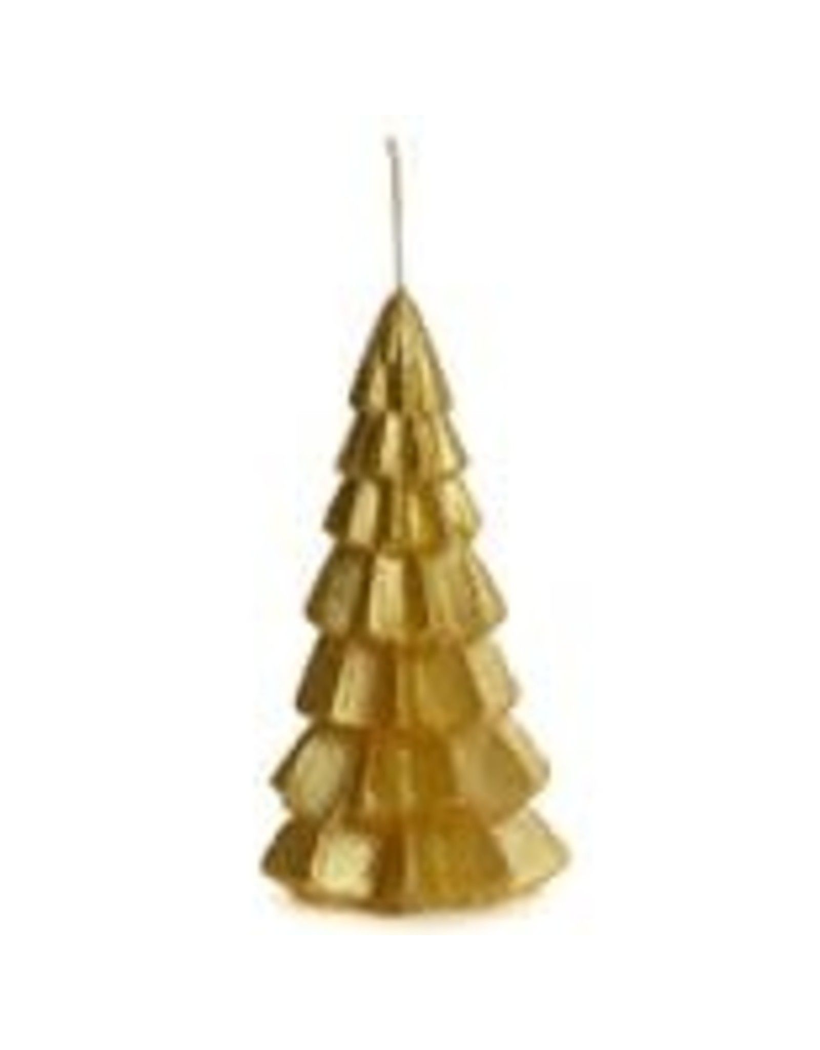 Rustik Lys Kaars - Kerstboom  - Small - Gold - 6,3 x 12 cm - Burning time +/- 13h