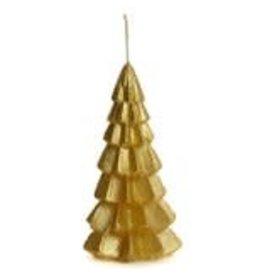 Rustik Lys Kaars - Kerstboom  - Small - Gold - 6,3 x 12 cm - Burning time +/- 13h