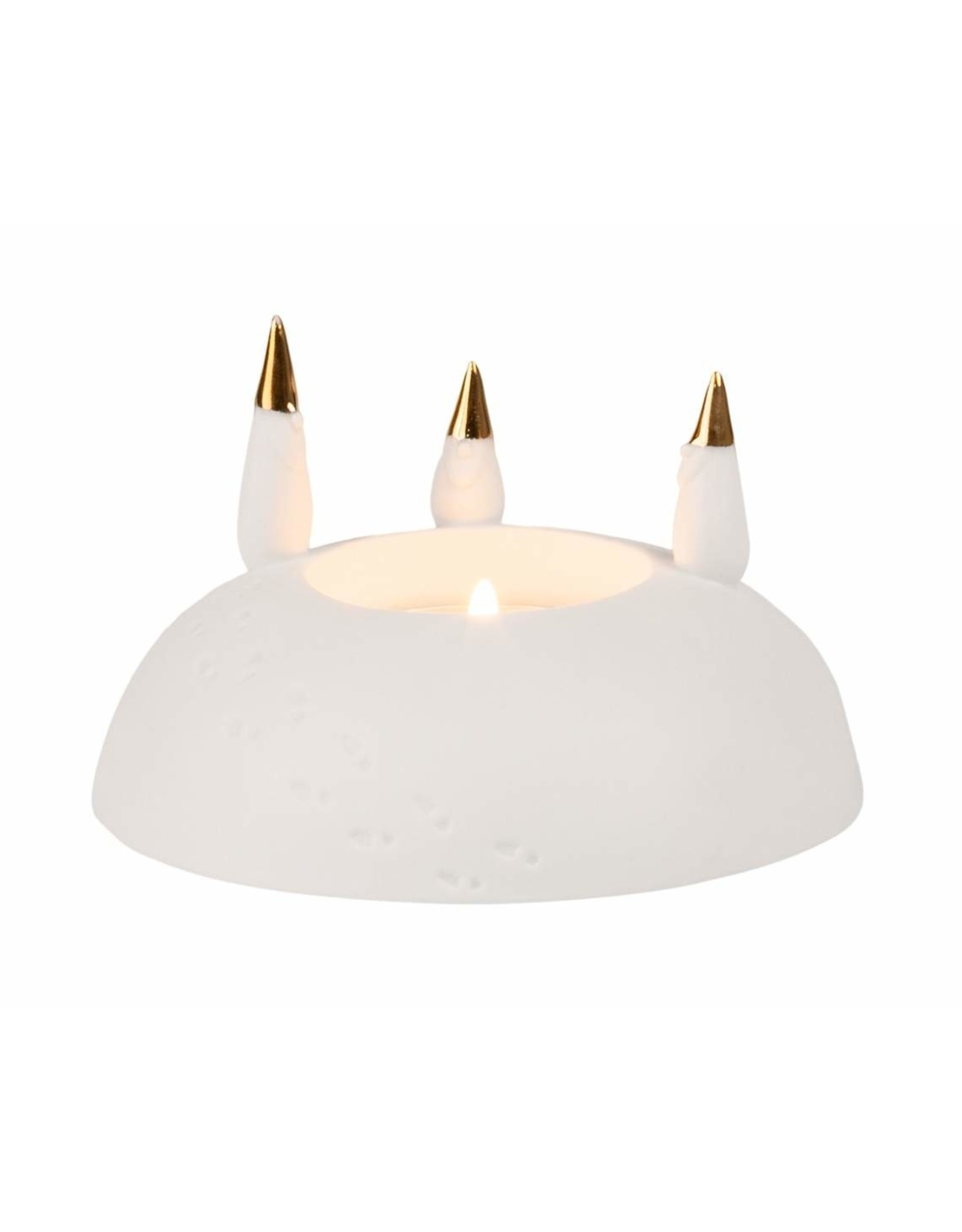 Raeder Waxinelicht kerstman wit/goud d:10 H:6cm