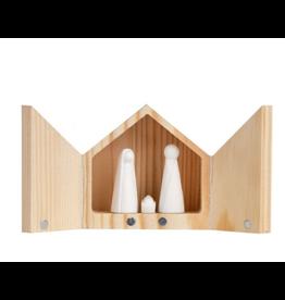 Raeder Kerststal Mini - Houten doosje met deur - 5 x 5 x 3,5cm