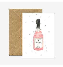 ATWS Wenskaart - Champagne - Dubbele kaart + Envelop - 11,5 x 16,5 - Blanco