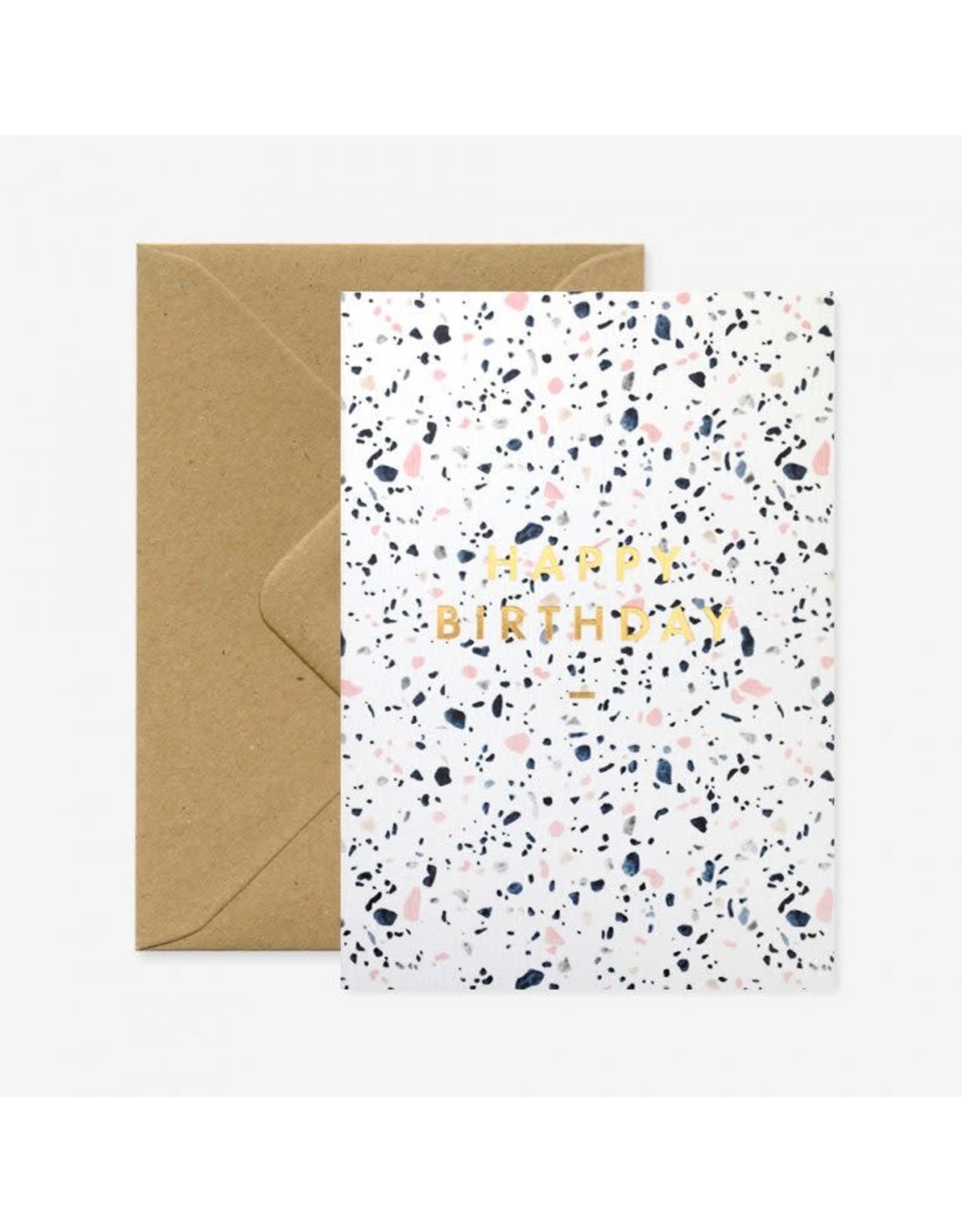 ATWS Wenskaart - Happy Birthday Terazzo - Dubbele kaart + Envelop - 11,5 x 16,5 - Blanco