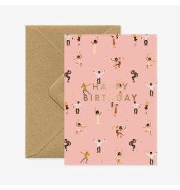 ATWS Wenskaart - Happy Birthday Dancers - Dubbele kaart + Envelop - 11,5 x 16,5 - Blanco