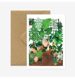 ATWS Wenskaart - Plant addict  - Dubbele kaart + Envelop - 11,5 x 16,5 - Blanco