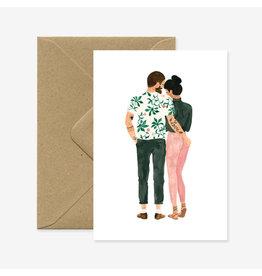 ATWS Wenskaart - Hipster lovers- Dubbele kaart + Envelop - 11,5 x 16,5 - Blanco